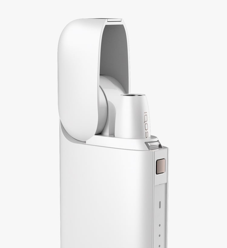 IQOS 2.4 Plus charger with lid flipped up and holder inside