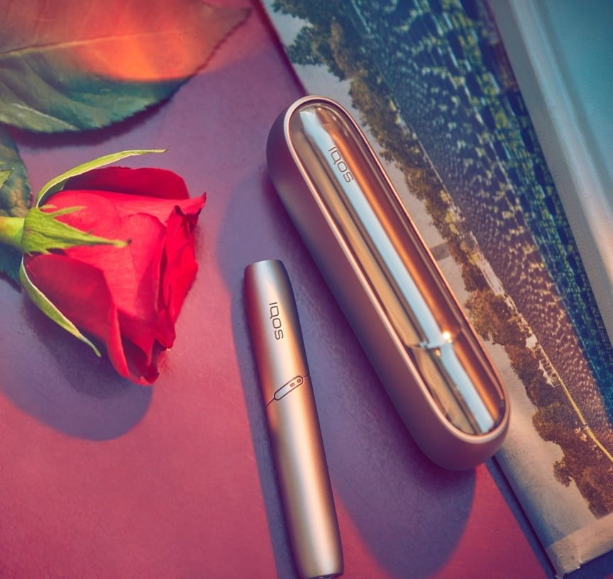 An IQOS device next to two red roses.
